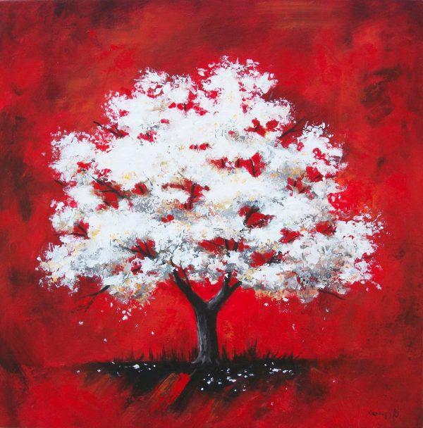 δεντρα, δέντρο, εκτυπωση, ελαιογραφια, εργα, εργο, ζωγραφικη, καμβα, κοκκινο, πινακας, πινακες, τοπιο, φυση, Χαραυγή, πινακες σε καμβα,