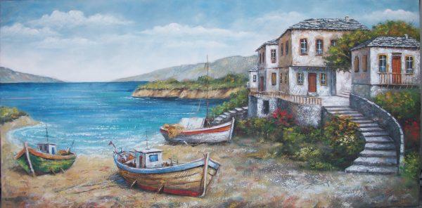 ακτη, βαρκα, βάρκες, εκτυπωση, ελαιογραφια, εργα, εργο, ζωγραφικη, θαλασσα, καμβας, παραθαλασσιο, πινακας, πινακες, τοπια, τοπιο, φυση, Χαραυγή, ψαρεμα