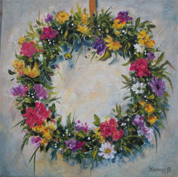εκτυπωση, ελαιογραφια, εργα, εργο, ζωγραφικη, καμβας, Λουλούδια, νεκρη φυση, πινακας, πινακες, πινακες σε καμβα, στεφανι, στεφανια, Χαραυγή